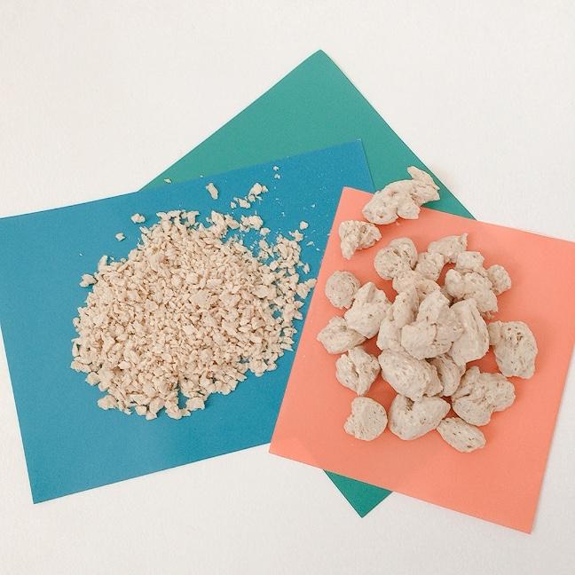 大豆ミート 最近は色々なサイズの大豆ミートが販売されています